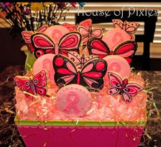 Butterfly/ Cancer Survivor Sugar Cookie Bouquet - House of Pixies