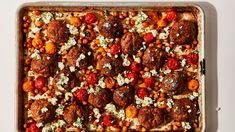 Sheet Pan Chicken Meatballs with Tomatoes and Chickpeas Recipe | Bon Appétit Chicken Meatball Recipes, Chicken Meatballs, Recipe Chicken, Chicken Chickpea, Harissa Chicken, Chickpea Recipes, Savoury Recipes, Vegan Recipes, Tomatoes
