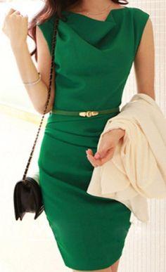 Green Sleeveless Cowl Neck Belt Design Dress