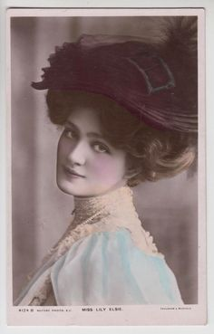 Postcard Lily Elsie Stage Beauty Theatre Actress Stunning Cose Up Tinted