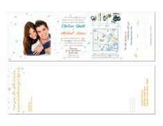 "Star horizontal Seal and Send Wedding Invitations! Save time and money! Seal and Sends include 4 panels for you to incorporate all your important wedding information: RSVP's, Ceremony info, Reception info, Timeline, Map, and Accommodations. You have a 6""x18"" space to work with and when the invitation is folded up it will be 4""x6"" It takes one 49 Cent stamp to mail a seal and send and includes a tear off rsvp card."