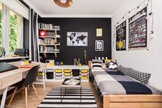The black color of the walls defines the style of the teenager's room. Despite the black walls, the room is not gri Bedroom Setup, Boys Bedroom Decor, Room Ideas Bedroom, Small Room Interior, Office Interior Design, Teen Boy Rooms, Deco Kids, Small Home Offices, Minimalist Room