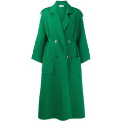 Vika Gazinskaya long double breasted coat ($2,925) ❤ liked on Polyvore featuring outerwear, coats, green, vika gazinskaya, long green coat, double breasted woolen coat, double-breasted wool coat and long woolen coats