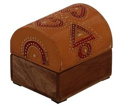 """Bulk Wholesale Handmade 3"""" Trunk-Shaped Mango-Wood Jewelry Box / Trinket Box in Mustard-Yellow & Natural-Wood Color Decorated with Traditional-Look Motifs in Cone-Painting Art – Ethnic-Look Boxes from India"""