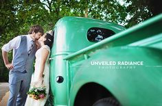 Old Truck Wedding Photo Green Ford Bride and Groom First Look Spring Wedding Louisiana Vineyard
