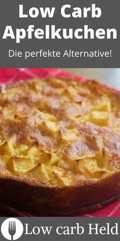 Super lecker und einfach. Probier den neuen Low Carb Apfelkuchen! Low Carb Desserts, Held, Super, French Toast, Breakfast, Yummy Cakes, Bakken, Bakeware, Sweet Recipes
