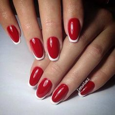 Red and White French Tip Nail Design