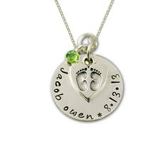 New Baby Necklace for Mom Mommy Hand Stamped in Silver with Baby Feet Heart Charm.