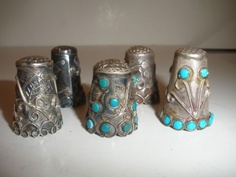6 SIX ANTIQUE MEXICAN MEXICO TAXCO STERLING SILVER THIMBLES THIMBLE
