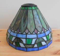 VINTAGE TIFFANY LAMPSHADE IN BLUE & GREEN ~ SOLD ON MY EBAY SITE LUBBYDOT1