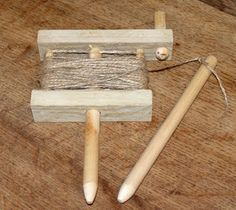 Homemade row marker fashioned from wood, dowels, bamboo skewers, and twine. Bamboo Skewers, Wood Turning, Twine, The Row, Markers, Diy And Crafts, Shed, Allotments, Handmade Items
