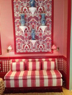 Red and white stripes (upholstery), small and large gingham check wallpapers, paisley wallpaper, red trim Redecorate Bedroom, Dining Room Design, Room Design, Blue Decor, Beautiful Dining Rooms, Decorating Blogs, Kips Bay Showhouse, Red Rooms, Room