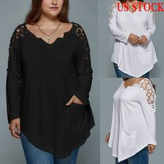 Women Casual Lace Blouse Long Sleeve Shirt T-shirt Summer Tops Fashion Plus Size #Unbranded #Casual #DailyCasualSport