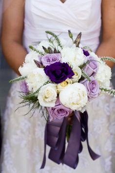 Purple Wedding Flowers Lovely ivory, purple and lavender bouquet with cascading ribbon. I like the different shades of purple - Purple Vintage Wedding Ideas brought to you by San Diego event designers Couture Events. Purple Bouquets, Lavender Bouquet, Purple Wedding Flowers, White Wedding Bouquets, Bridal Flowers, Floral Wedding, Wedding Colors, Wedding Lavender, Ribbon Wedding