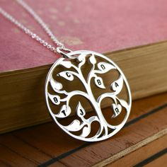 Sterling silver family tree necklace - Stamped initial family tree of life - hand stamped jewelry. $89.00, via Etsy.
