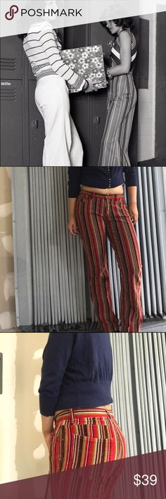 Vintage Corduroy Stripe 70's Flare Pants Vintage Corduroy Stripe 70's Flare Pants ••• Vintage Alert! Complete your cropped concert tee with these rad stripe pants. In great condition and ready to rock and roll in some platform boots! Pants say size 5, but could fit a size 6. They have some stretch. 👁‍🗨 Not Urban Outfitters 👁‍🗨 Urban Outfitters Pants Wide Leg