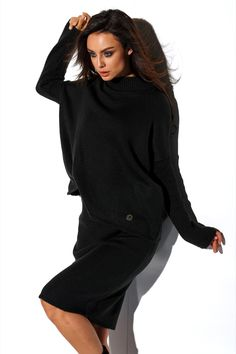 Compleu tricotat cu fusta negru compus din bluza supradimensionata la baza gatului cu maneci lungi si fusta dreapta cu lungime medie High Neck Dress, Tommy Hilfiger, Turtle Neck, Polo Ralph Lauren, Costume, Clothes, Dresses, Products, Fashion