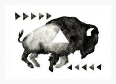 Print Geometric Sleepy Buffalo Print from an by GeometricInk