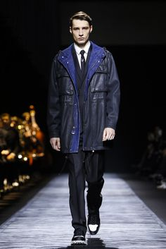 Dior Homme Menswear Fall Winter 2015 Paris trend leather nato jacket with material mix in two colours