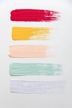 Get inspired by sorbet themed colors for paint and interior design home decor finds on domino. Domino shares ideas for painting and decorating your space in sorbet colors. for home Sorbet Color Palette For Paint Colour Pallete, Colour Schemes, Color Patterns, Color Combos, Summer Colour Palette, Modern Color Palette, Pastel Decor, Pastel Colors, Paint Colors
