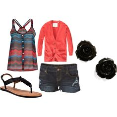 brights with black summer outfit, created by tamrafriss on Polyvore