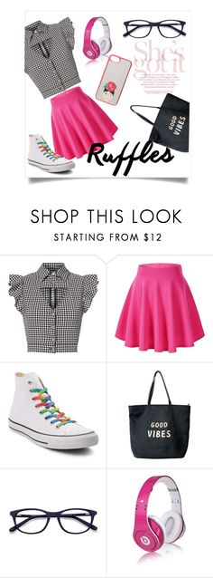 """Gingham Ruffles!"" by klmalcolm ❤ liked on Polyvore featuring Marissa Webb, Converse, Venus, Beats by Dr. Dre and Kate Spade"