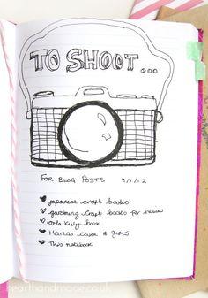 Shoot List Notebook Ideas