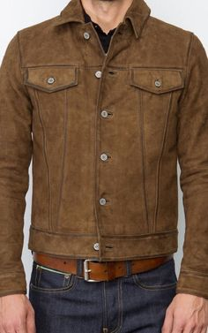 Customized Brown Color Suede Western Style Handmade Leather Jacket for Men's from Robleatherseller - Anziehsachen - Jackets Suede Leather Jacket, Classic Leather Jacket, Brown Suede Jacket, Vintage Leather Jacket, Leather Men, Cowhide Leather, Leather Jackets, Pink Leather, Black Suede
