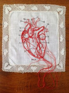 Embroidery by Karin van der Linden. Embroidery Art, Cross Stitch Embroidery, Embroidery Designs, Diy Broderie, Quilting, Heart Art, Art Plastique, Fabric Art, Cross Stitching