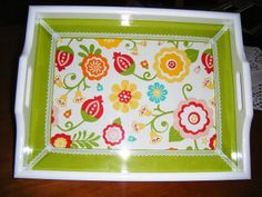 Tabuleiro decorado com tecido