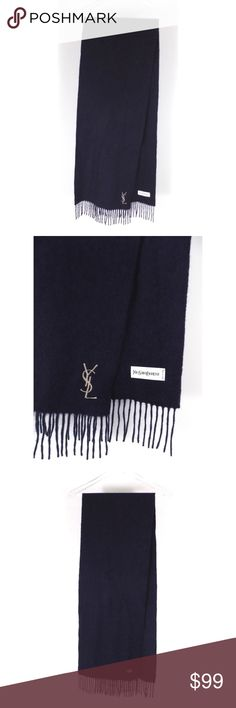 "YSL Yves Saint Laurent Navy Logo Cashmere Scarf Excellent used condition with no noted flaws. See photos.  Measurements Length: 73"" (including fringe) Width: 12""  100% Cashmere.  Made in Italy. Yves Saint Laurent Accessories Scarves"