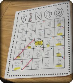Math Problem Bingo - have them do the problems & they have to have the right answer to get a BINGO!