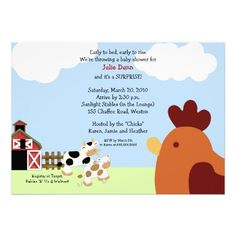Rise 'n' Shine Barnyard Cow Chicken Baby Shower Personalized Invitations