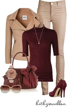 """Beige 'n Burgandy"" by bitbyacullen on Polyvore"