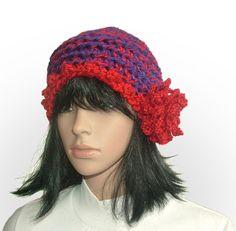 red flower beanie #crochet beanie be Renate Kirkpatrick