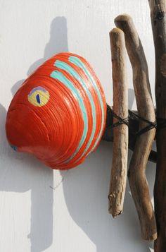 All Things Coastal, Large Orange Driftwood Fish Wall Art, Tropical Beach House Decor. $75.00, via Etsy.