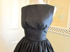 1950s Vintage Style Dress Lovely Black Shantung by TenderLane, $189.00  LOVE THIS