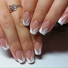 french nails nude-quadratisch-spitze-weiß-dreieckig-lang-elegant-brautnägel-ri… french nails nude-square-lace-white-triangular-long-elegant-bridal-nails-ring Nude nails always look COFFIN NAIL ART Nude nail ideas that a French Manicure Nails, French Manicure Designs, Elegant Nail Designs, French Tip Nails, Nail Art Designs, Manicure Ideas, Spa Manicure, Pedicure, White French Nails