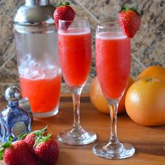 Strawberry Grapefruit Mimosas. So light and refreshing with tequila and pink moscato perfect for Valentines Day or warm days.