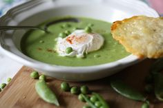 Minty pea soup with Parmesan crisp and a poached egg -- yumm! (Recipe in Mediterranean Meal Plan of 10 July 13. To subscribe: http://nutrelan.com/nutrelan-weekly-meal-plans/)