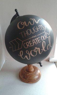 Hand Painted Globe 8. Chalkboard Globe por WholeWorldOfLove en Etsy