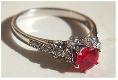 Vtg Estate 1ctw Diamond Cut Ruby Wedding by My3LadiesJewelry, $159.99