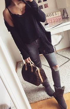 #winter #fashion /  Black Top + Skinny Ripped Jeans