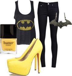 Now this is how you rock a Batman shirt! Batman Tank - alloy.com Thvm Night Hi-Rise Denim - tenover6.com AX Paris Yellow Faux Sue - axparis.co.uk Butter London 3 Free Nail macys.com