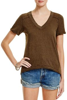 Ribbed V neckline tee with high/low hemline. Comes in Almond ,Army ,Black ,Red. Free People Pearls High/Low Tee