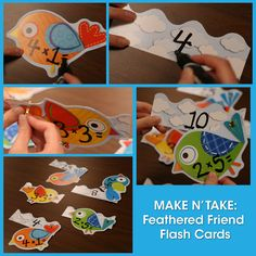 Extra bits and pieces left over from bulletin boards and wall decorations can be put to great use as self checking flashcards!