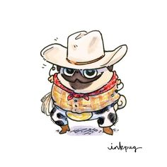 Howdy pug card - all occasion card, funny cards with pugs, personalized western pug stationery, cowboy pug, rodeo pug art by Inkpug Funny Animal Comics, Cute Cartoon Animals, Cartoon Dog, Funny Animals, Cute Animals, Animals Dog, Cute Animal Drawings, Cute Drawings, Pug Illustration