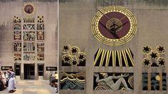 """Rockefeller Center, Manhattan  """"The Story of Mankind"""", de Lee Lawrie, que retrata o relógio como o sol."""