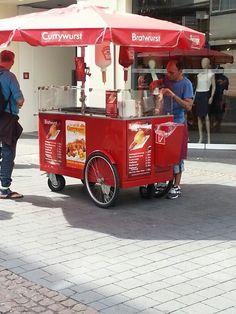 Hotdog cart in bonn Bike Cart, Restaurant Signage, Hot Dog Stand, Hot Dog Recipes, Food Carts, Bratwurst, Signage Design, Food Trucks, Hot Dogs