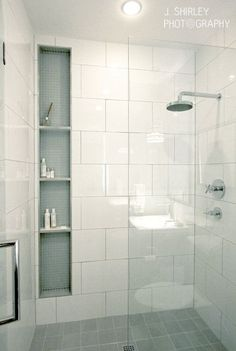 big subway tiles, glass wall, modern shower. J Shirley photography
